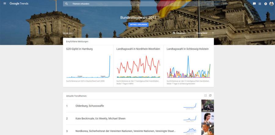 Startseite von Google Trends (Screenshot: Google)