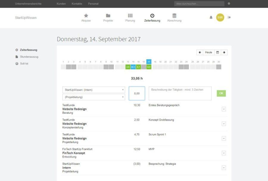 MOCO Zeiterfassung (Bild: hundertzehn GmbH)