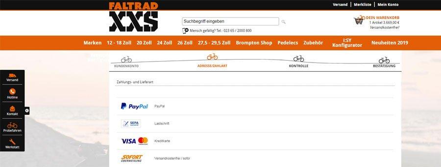 PayPal PLUS bei Faltrad XXS (Bild: Faltrad XXS)