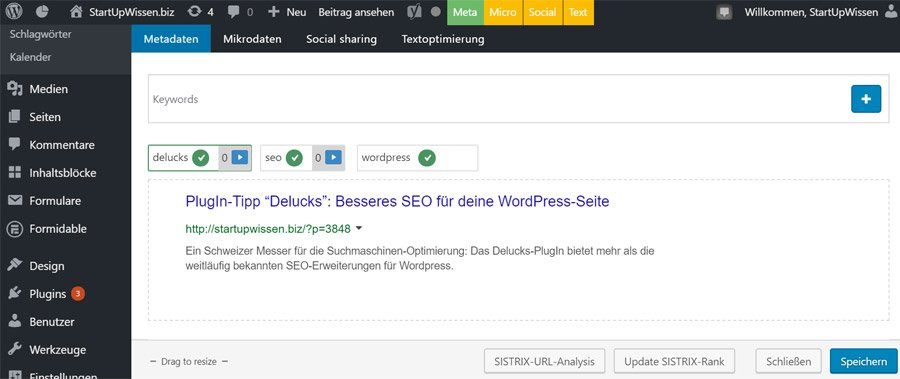 Delucks SEO PlugIn für WordPress (Bild: StartUpWissen.biz)
